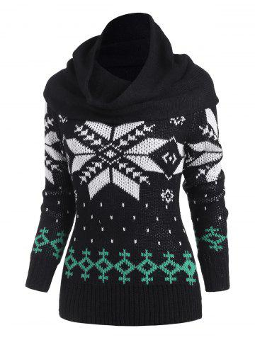Christmas Snowflake Multiway Sweater with Ring Scarf - BLACK - XXL
