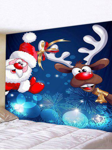 Christmas Santa Claus Deer Print Tapestry Wall Hanging Art Decoration - MULTI - W91 X L71 INCH