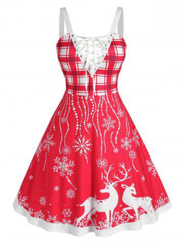 Plus Size Christmas Elk Snowflake Lace-up Backless Dress - RED - 3X