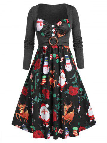 Plus Size Christmas Claus Elk Snowman Cami Dress with Crop Top Set