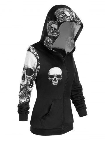 Skull Print Halloween Zip Up Hoodie - BLACK - L