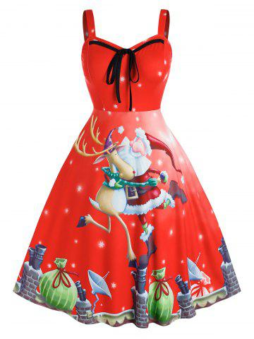 Plus Size Christmas Santa Claus Elk Gift Backless Tie Dress - RED - 3X