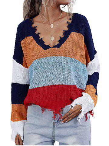 V Neck Colorblock Distressed Trim Oversized Sweater