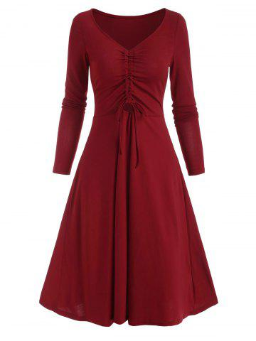V Neck Cinched Front A Line Long Sleeve Dress