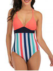 Stripes Colorblock Lace Up Back One-piece Swimsuit -