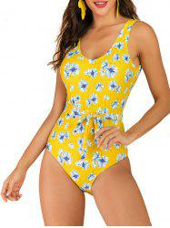 Flower Belted Backless One-piece Swimsuit -