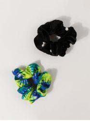 2Pcs Faux Pearl Tie Dye Scrunchies Set -