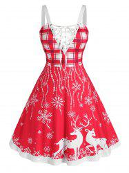 Plus Size Christmas Elk Snowflake Lace-up Backless Dress -