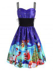 Christmas Tree Elk Santa Claus Lace Up Dress -