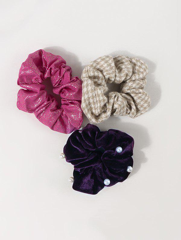 Shop 3Pcs Houndstooth Faux Pearl Glitter Scrunchies Set