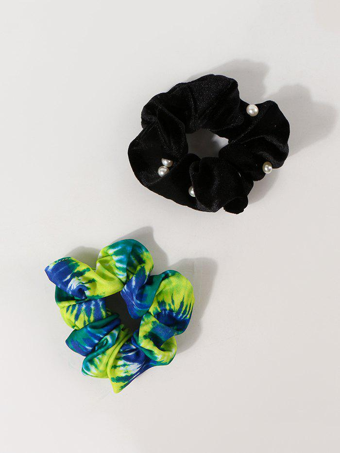 Chic 2Pcs Faux Pearl Tie Dye Scrunchies Set