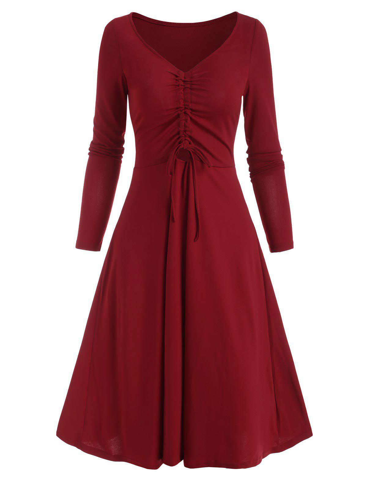 Latest V Neck Cinched Front A Line Long Sleeve Dress