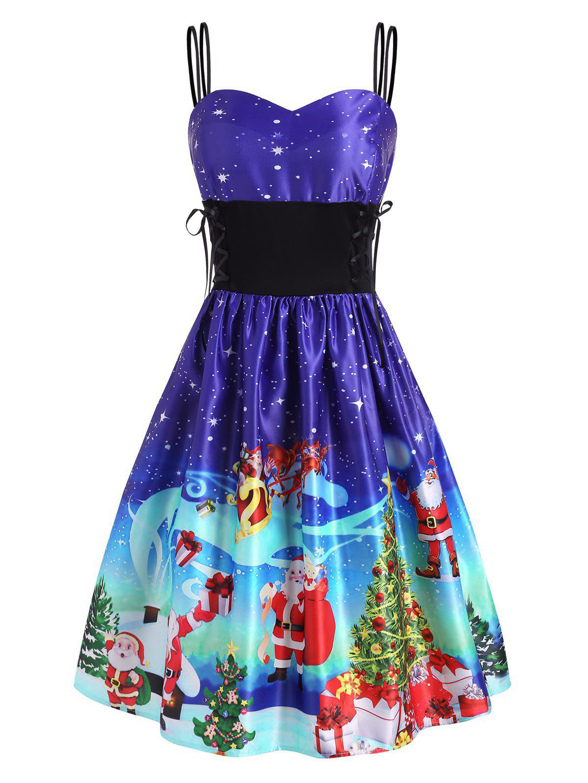 Fashion Christmas Tree Elk Santa Claus Lace Up Dress