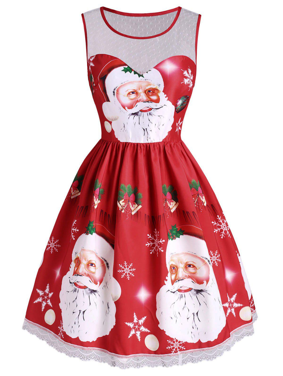 New Christmas Bell Snowflake Santa Claus Lace Insert Dress
