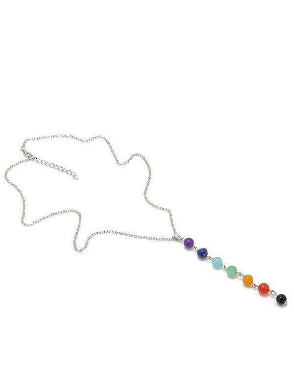 Fashion Colored Natural Stone Beads Pendant Yoga Energy Necklace