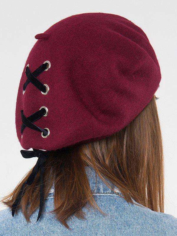 Colorblock Ribbon Lace Up Beret Hat