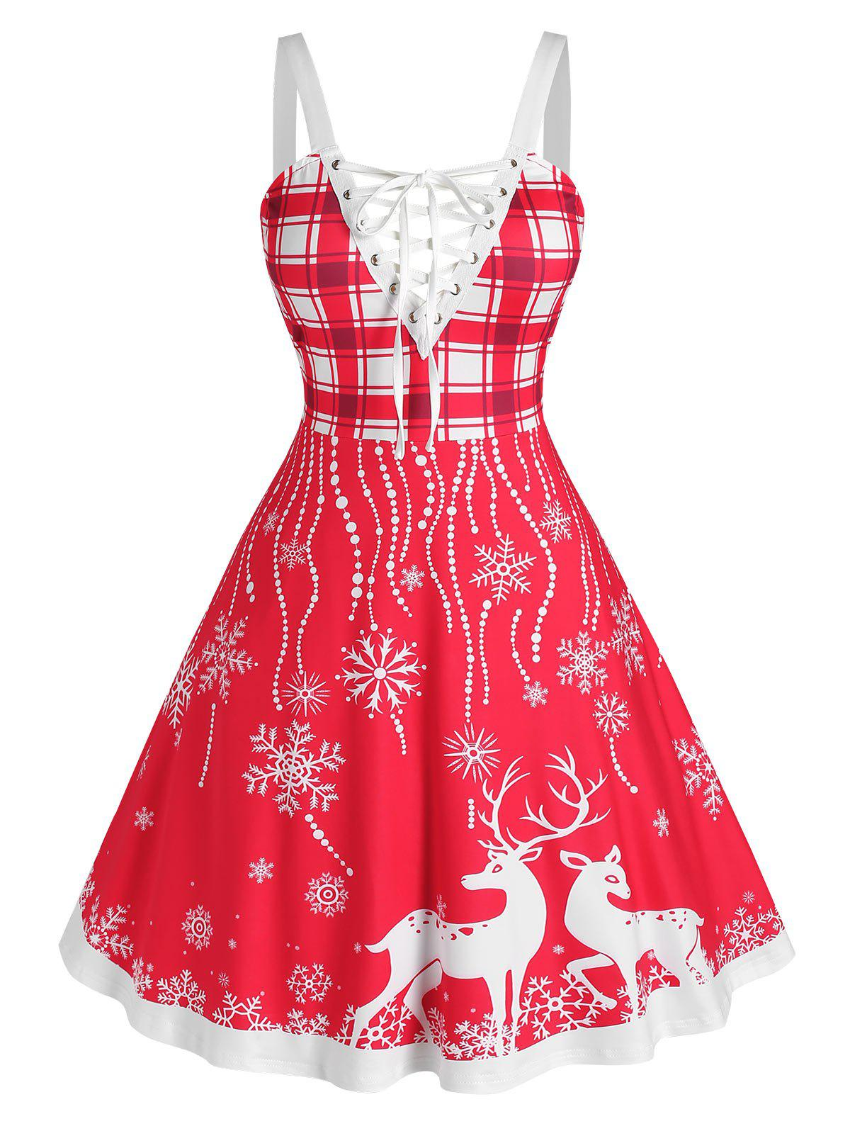 Store Plus Size Christmas Elk Snowflake Lace-up Backless Dress
