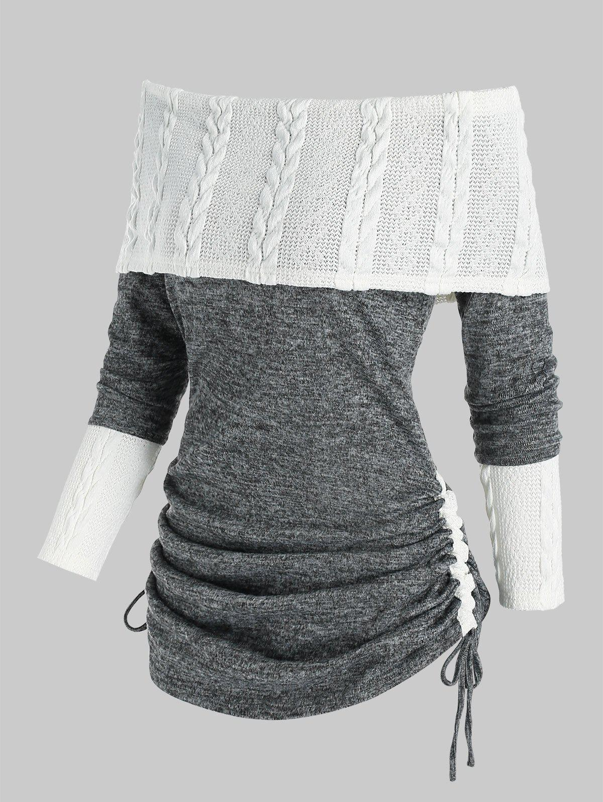 Cheap Off The Shoulder Cinched Patchwork Knitwear