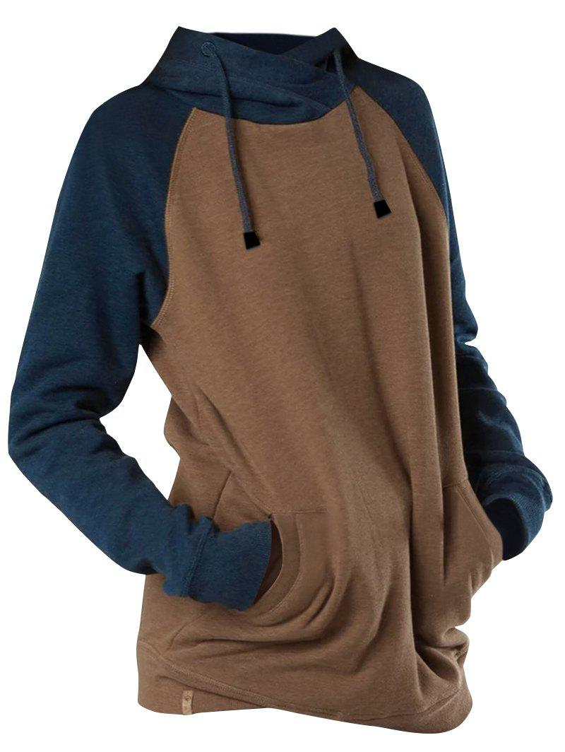 New Plus Size Drawstring Colorblock Hoodie