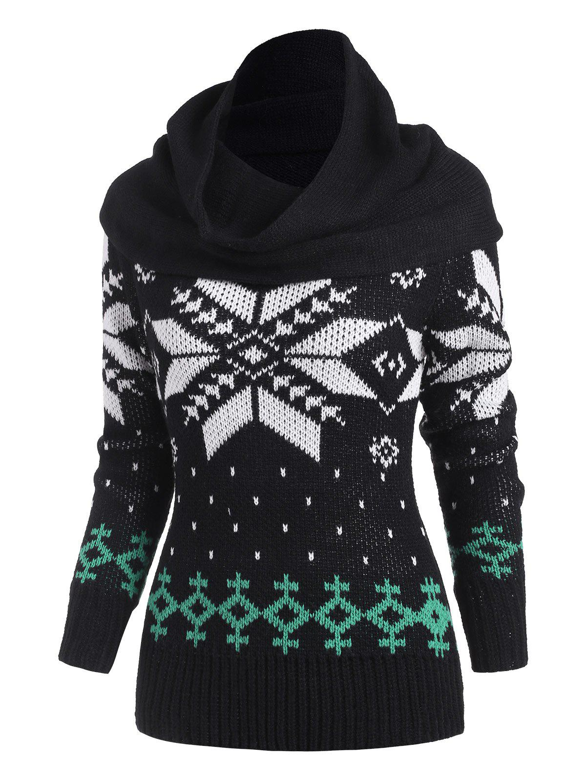 Affordable Christmas Snowflake Multiway Sweater with Ring Scarf