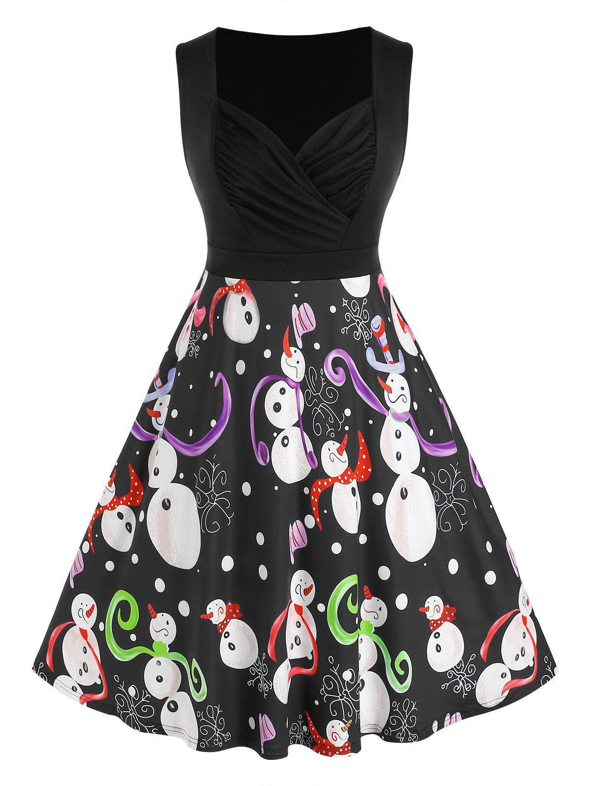 Best Plus Size Ruched Snowman Print Flare Dress