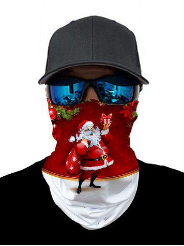 Outdoor Christmas Santa Printed Mask Round Scarf