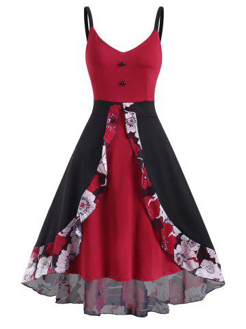 Floral Panel Overlay High Low Sleeveless Dress