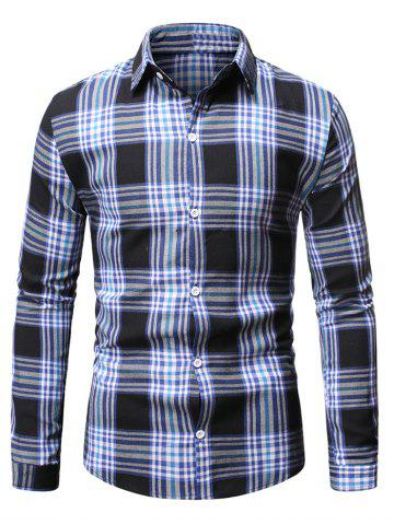 Plaid Casual Button Up Long Sleeve Shirt - BLUE - S