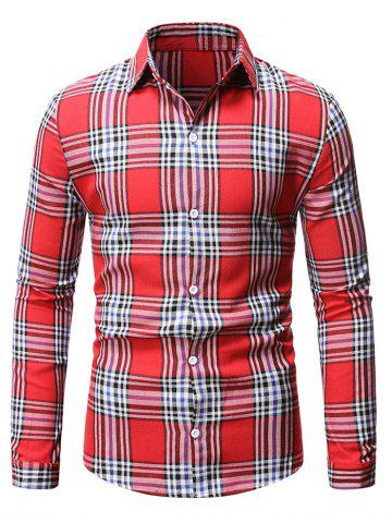 Plaid Casual Button Up Long Sleeve Shirt - RED - XL
