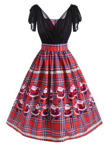 Christmas Plaid Santa Claus Bowknot Chiffon Panel Dress