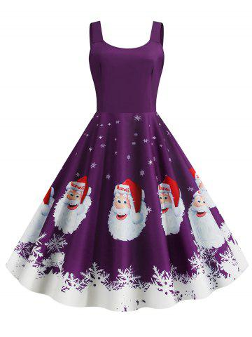 Christmas Santa Claus Snowflake Print Plus Size Dress - PURPLE - 3XL