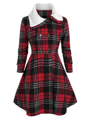 Plus Size Checked Faux Fur Collar Skirted Tunic Coat - CHERRY RED - L