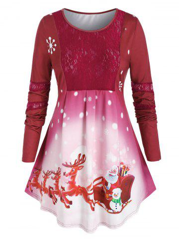 Plus Size Christmas Elk Claus Lace Panel Curved Hem Tee - RED - 5X
