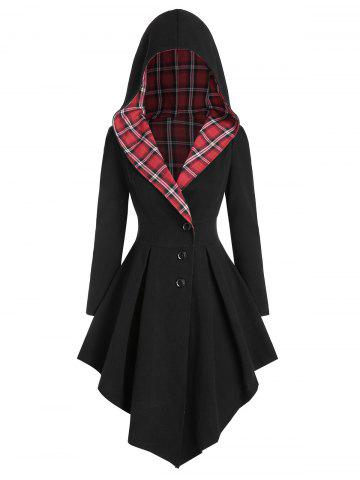 Hooded Plaid Lace Up Asymmetric Coat