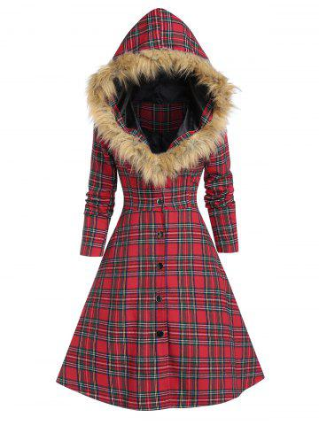 Faux Fur Insert Hooded Lace Up Plaid Coat - CHERRY RED - 3XL