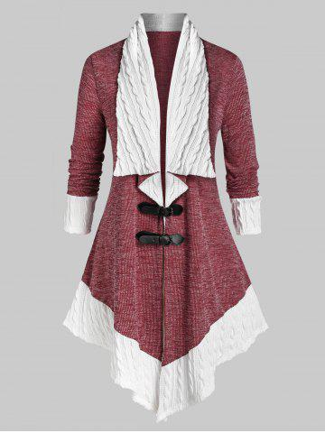 Plus Size Two Tone Buckles Cable Knit Cardigan - RED WINE - 2X