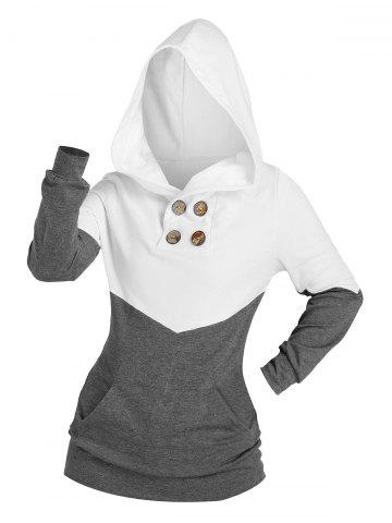 Two Tone Buttons Kangaroo Pocket Hoodie
