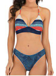 Leaf Print Striped Mix and Match Bikini Swimwear -