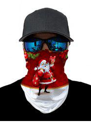 Outdoor Christmas Santa Printed Mask Round Scarf -
