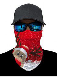 Outdoor Christmas Elk Printed Cycling Mask Round Scarf -