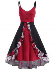 Floral Panel Overlay High Low Sleeveless Dress -