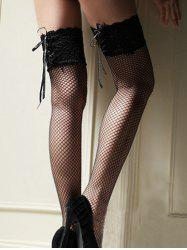 Lace Up Fishnet Thigh High Stockings -