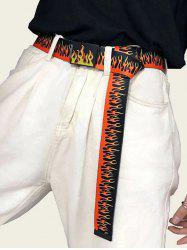 Flame Pattern Canvas Casual Buckle Belt -