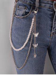 Hollow Butterfly Pendant Faux Pearl Trousers Chain -