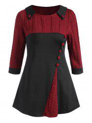 Cable Knit Panel Buttoned Three Quarter Sleeve Top -
