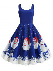 Christmas Santa Claus Snowflake Print Plus Size Dress -