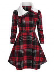 Plus Size Checked Faux Fur Collar Skirted Tunic Coat -