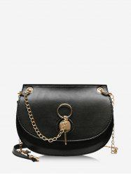 Chain Cover Crossbody Saddle Bag -