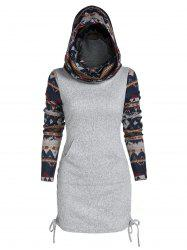 Tribal Print Cinched Hooded Knitwear -