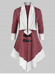 Plus Size Two Tone Buckles Cable Knit Cardigan -